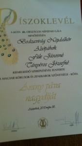 Ötödik Aranypáva Nagydíjunk!